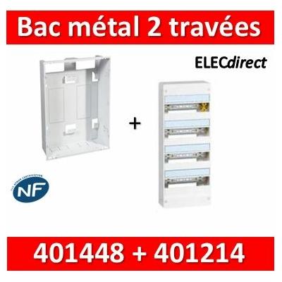 Legrand - Bac métal 2 travées + tableau 4R Drivia 13M + platine + coffret de com- 401448+401214