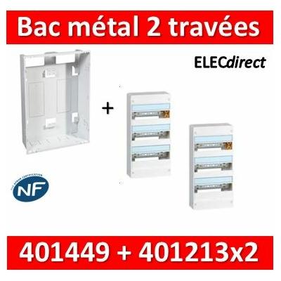 Legrand - Bac métal 2x13 Drivia 13 - 2 travées + 2 coffrets 3R + platine + coffret com. - 401449+401213x2
