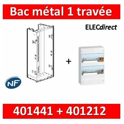 Legrand - Bac métal 1 travée Drivia 13 + coffret 2R 13M + platine + coffret com. - 401441+401212