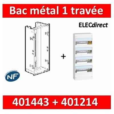 Legrand - Bac métal 1 travée Drivia 13 + coffret 4R 13M + platine + coffret com. - 401443+401214