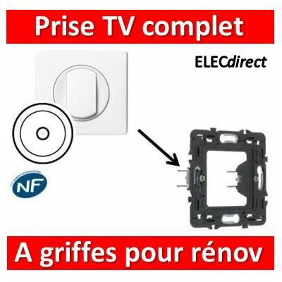 Legrand Céliane - Prise TV simple complet blanc 1 poste à griifes pour rénovation