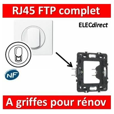 Legrand Céliane - Prise  RJ45 Cat 6 FTP complet blanc 1 poste à griffes pour rénovation