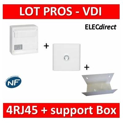 Legrand - Coffret VDI GRADE 1 et 2 - 4 RJ45 + Porte + Support Box Casanova - 413218+401331+ETTRI250