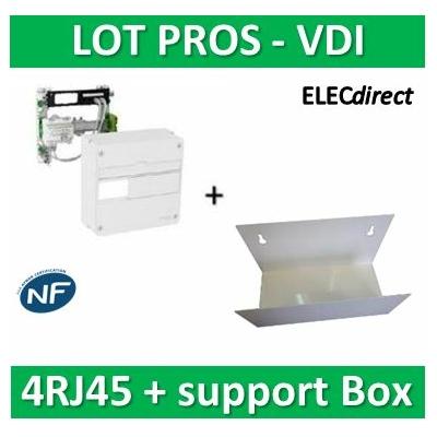 Schneider - LexCom Home - coffret de communication - grade 1 - 4RJ45 + support Box - VDIR390014+ETTRI250