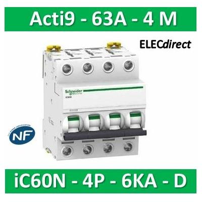 Schneider - Disjoncteur Acti9 - iC60N - 4P - 63A - 6kA - courbe D - A9F75463