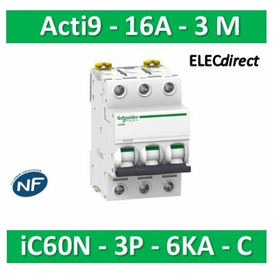 Schneider - Disjoncteur Acti9 - iC60N - 3P - 16A - 6kA - courbe C - A9F77316