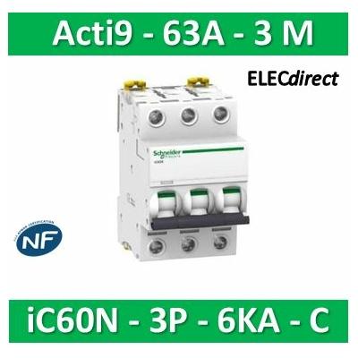 Schneider - Disjoncteur Acti9 - iC60N - 3P - 63A - 6kA - courbe C - A9F77363
