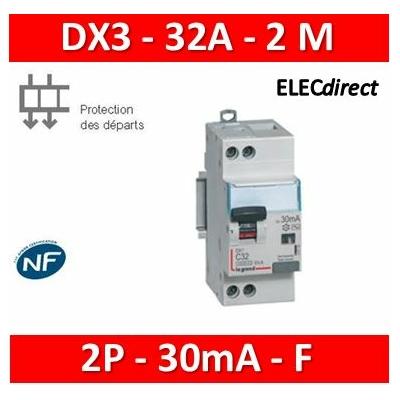 Legrand - Disjoncteur différentiel DX³4500 U+N 230V~ - 32A typeF 30mA - courbe C - 2M - 410756