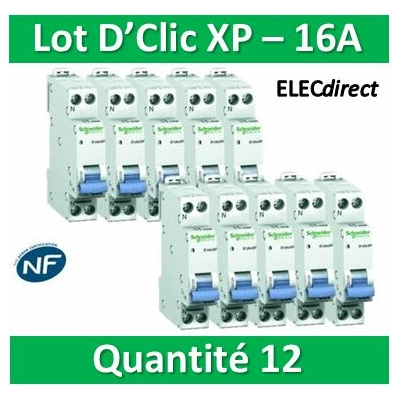 SCHNEIDER - LOT DE 12 DISJONCTEURS XP 16A - 20726