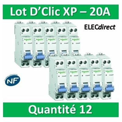 SCHNEIDER - LOT DE 12 DISJONCTEURS XP 20A - 20727