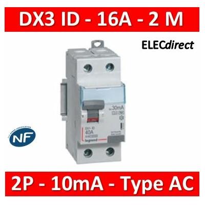 LEGRAND - Interrupteur Différentiel 2P - 16A - 10ma Type AC Départ Bas - 411500