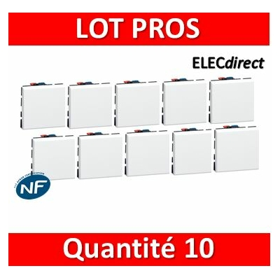 Legrand Mosaic - Bouton poussoir - 2 modules - 6A - 230V - 077040x10