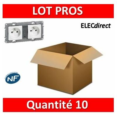 Legrand Niloé - Prise de courant 2x2P+T 16A pré-câblé - Blanc - 664745x10