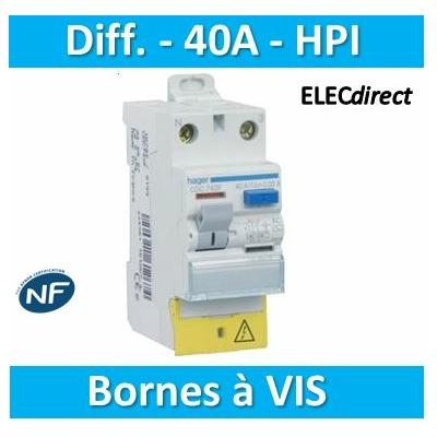 Hager - Inter dif 1P+N 40A 30mA HI BD - CDH140F