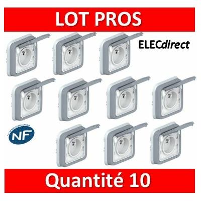 Legrand Plexo - Prise de courant encastré 2P+T 16A - 230V - IP55/IK07 - 069831x10
