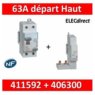 LEGRAND - Interrupteur Différentiel 2P - 63A - 30ma Type HPI Départ Haut - 411592+406300