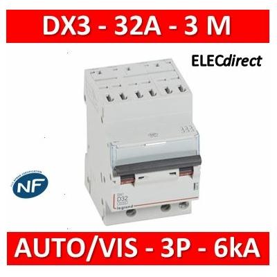 Legrand - Disjoncteur DX³6000 10kA arrivée haute auto départ bas à vis 3P 400V~ - 32A - courbe D - 408078