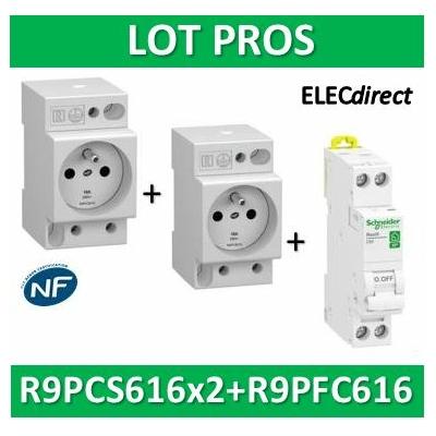 Schneider - LOT PROS - PC 2P+T 16A 220V  Modulaire x 2 + disjoncteur 16A - R9PCS616x2+R9PFC616