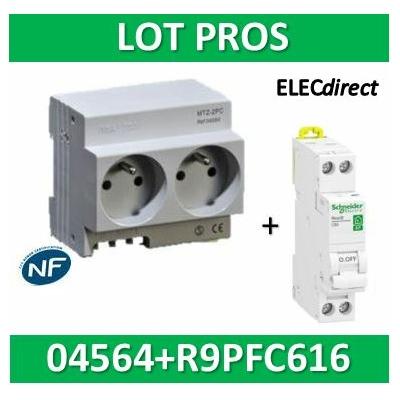 Schneider - LOT PROS - 2xPC 2P+T Modulaire précâblé DIGITAL + disjoncteur 16A - 04564+R9PFC616