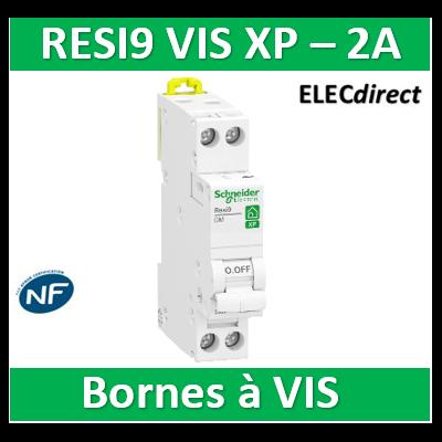 SCHNEIDER - DISJONCTEUR DUOLINE RESI9 XP (à VIS) - 2A - VIS/VIS - R9PFC602