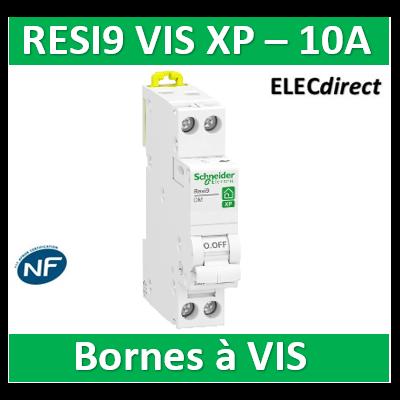 SCHNEIDER - DISJONCTEUR DUOLINE RESI9 XP (à VIS) - 10A - VIS/VIS - R9PFC610