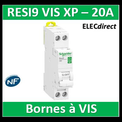 SCHNEIDER - DISJONCTEUR DUOLINE RESI9 XP (à VIS) - 20A - VIS/VIS - R9PFC620