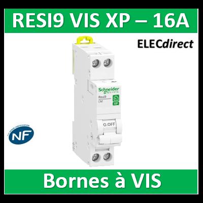 SCHNEIDER - DISJONCTEUR DUOLINE RESI9 XP (à VIS) - 16A - VIS/VIS - R9PFC616