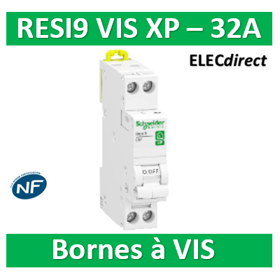 SCHNEIDER - DISJONCTEUR DUOLINE RESI9 XP (à VIS) - 32A - VIS/VIS - R9PFC632