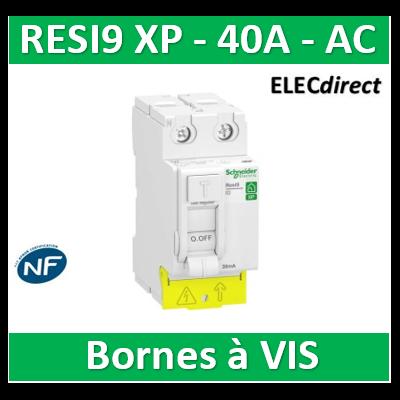 SCHNEIDER - Inter différentiel Resi9 XP 2P - 40A - 30ma - Type AC - R9PRC240