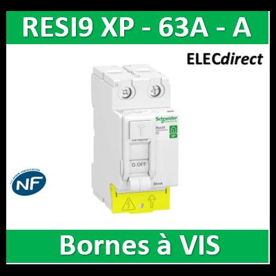 SCHNEIDER - Inter différentiel Resi9 XP 2P - 63A - 30ma - Type A - R9PRA263