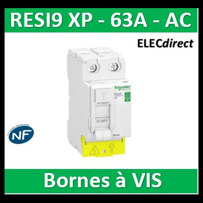 SCHNEIDER - Inter différentiel Resi9 XP 2P - 63A - 30ma - Type AC - R9PRC263