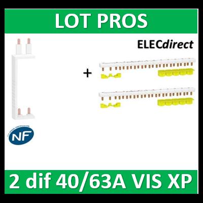 Schneider - LOT XP RESI9- 80A - Dif. 25/40/63A à Dif. 25/40/63A + peignes Phase+Neutre - R9PXV+R9PXH213x2