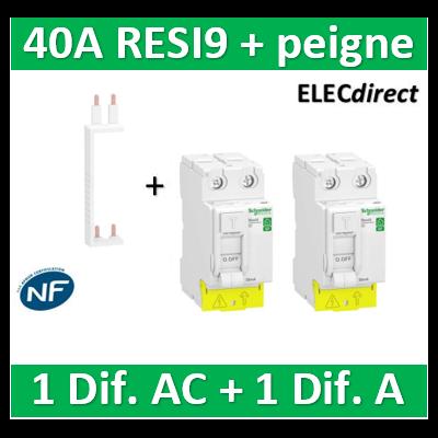 SCHNEIDER - DIF. XP RESI9 + peigne - (1 - ID 2x40A 30mA AC/1 - ID 2x40A 30mA A) - R9PRA240+R9PRC240+R9PXV