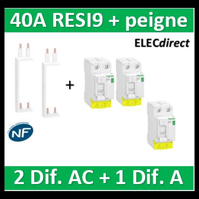 SCHNEIDER - DIF. XP RESI9 + peigne - (2 - ID 2x40A 30mA AC/1 - ID 2x40A 30mA A) - R9PRA240+R9PRC240x2+R9PXV