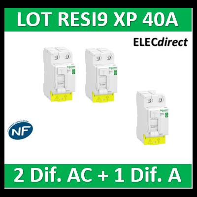 SCHNEIDER - LOT de 3 inter dif. RESI9 XP - (2 - ID 2x40A 30mA AC/1 - ID 2x40A 30mA A) - R9PRC240x2+R9PRA240
