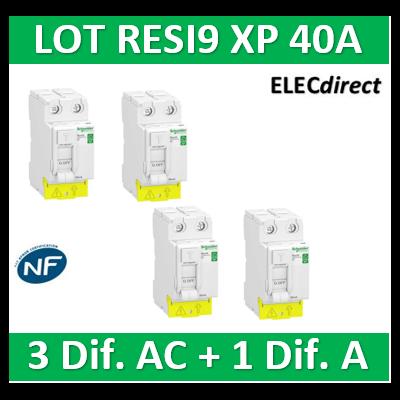 SCHNEIDER - LOT de 4 inter dif. XP - (3 - ID 2x40A 30mA AC/1 - ID 2x40A 30mA A) - R9PRC240x3+R9PRA240