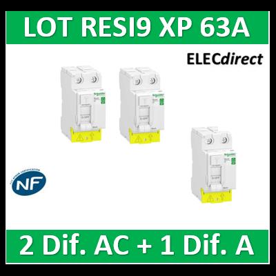 SCHNEIDER - LOT de 3 inter dif. RESI9 XP - (2 - ID 2x63A 30mA AC/1 - ID 2x63A 30mA A) - R9PRC263x2+R9PRA263