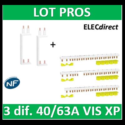 Schneider - LOT RESI9 XP - 80A - Dif. 25/40A à Dif. 25/40/63A + peignes Phase+Neutre - R9PXVx2+R9PXH213x3