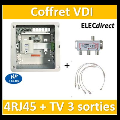 Casanova - Coffret sans porte VDI Grade 1 avec brassage - 4 RJ45 - 3 TV - CTRIETG14X4