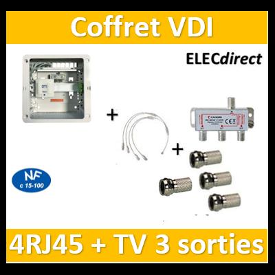 Casanova - Coffret sans porte VDI Grade 1 avec brassage - 4 RJ45 - 3 TV + 4 fiches F - CTRIETG14X+4 Fiches