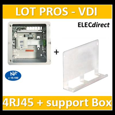 Casanova - Coffret sans porte VDI Grade 1 avec brassage - 4 RJ45 - 3 TV + support BOX - CTRIETG14X+828080