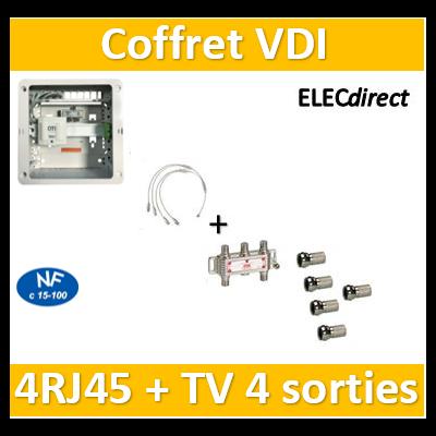 Casanova - Coffret VDI Grade 1 avec brassage - 4 RJ45 - 4 TV + 5 fiches F - CTRIETG14