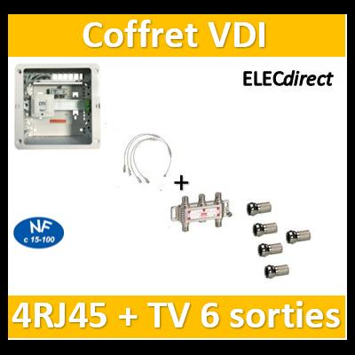 Casanova - Coffret VDI Grade 1 avec brassage - 4 RJ45 - 6 TV + 7 fiches F - CTRIETG14X