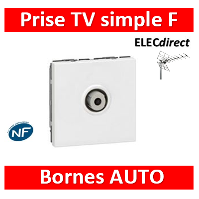 "Legrand Mosaic - Prise TV simple type ""F"" à visser 2M - 078780"