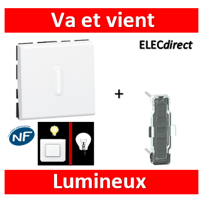 Legrand Mosaic - Va-et-Vient lumineux - 2 modules - 10A - 230V  à voyant LED - 077012+067686