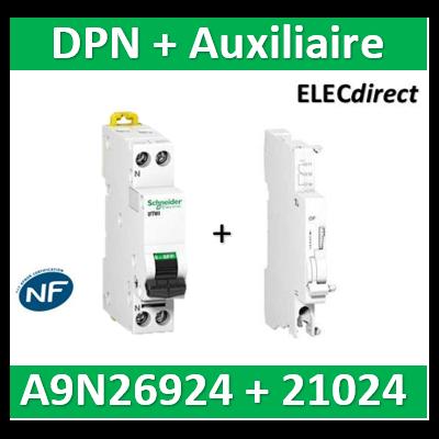 SCHNEIDER - Disjoncteur Ph/N 10A DT40 - 6KA + Auxiliaire - SCHA9N21024+A9N26924