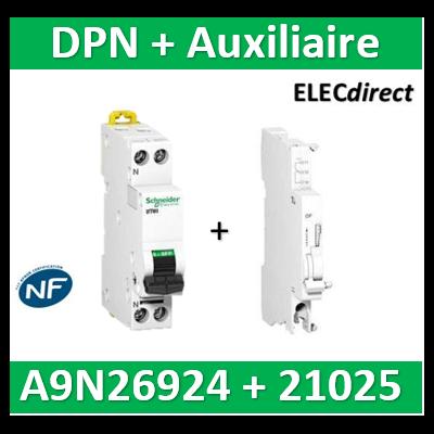 SCHNEIDER - Disjoncteur Ph/N 16A DT40 - 6KA + Auxiliaire - SCHA9N21025+A9N26924