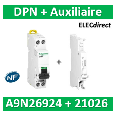 SCHNEIDER - Disjoncteur Ph/N 20A DT40 - 6KA + Auxiliaire - SCHA9N21026+A9N26924