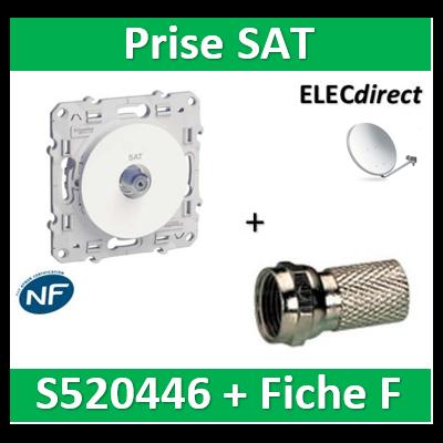 Schneider Odace - Prise SAT + fiche F à visser - s520446+fiche f