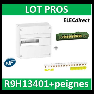 Schneider - Resi9 - coffret 13M - 1R + peignes PH+N Schneider  - R9H13401+R9PXH213